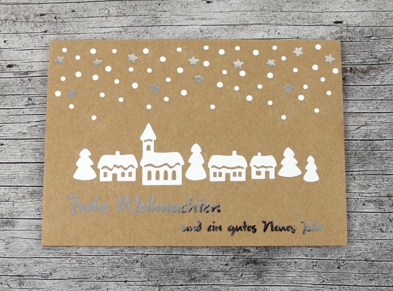 Kleinesbild - Klappkarte **Winterdorf** von ZWEIFARBIG Kraftpapier Weihnachtswünsche Frohe Weihnachten Grußkarte Weihnachtskarte Weihnachtsgrüße Kraftpapierkarte