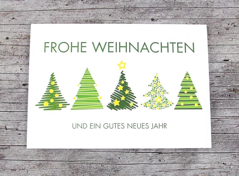 Kleinesbild - Klappkarte **Grüne Bäume** von ZWEIFARBIG Weihnachtswünsche Frohe Weihnachten Grußkarte Weihnachtskarte Weihnachtsgrüße Baum