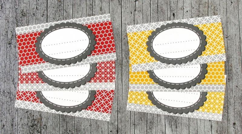 Kleinesbild - Einmachetiketten **geMustert3** von ZWEIFARBIG 12 Stück gummiertes Papier Aufkleber Marmeladenetikett Sticker Dekoration