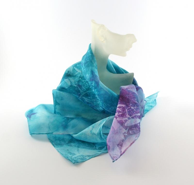 Kleinesbild - Seidentuch 55x55 cm Frechdachs Unikat von ZWEIFARBIG Geschenk für Frauen Muttertag Halstuch Accessoire handgefärbt