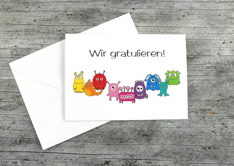 Kleinesbild - Klappkarte **MonstAAA8** von ZWEIFARBIG Grußkarte Geburtstag Glückwünsche Geburtstagswünsche Gratulation Geburtstagskarte Kindergeburtstag