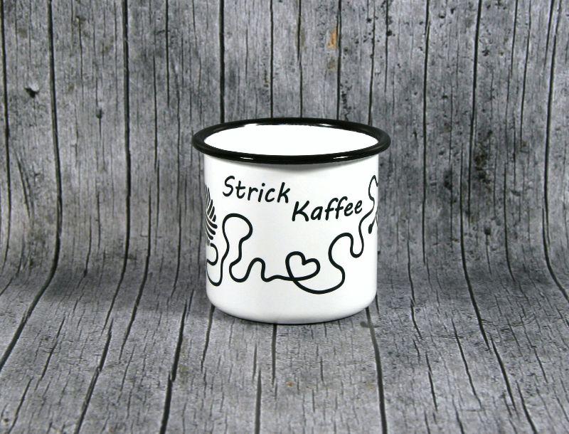 Kleinesbild - Tasse **StrickKaffee** von ZWEIFARBIG aus Emaille Kaffeetasse Küche Geschenk Emaillebecher Geburtstag Dekoration Emailletasse Hobby Küchenbedarf Becher Tasse
