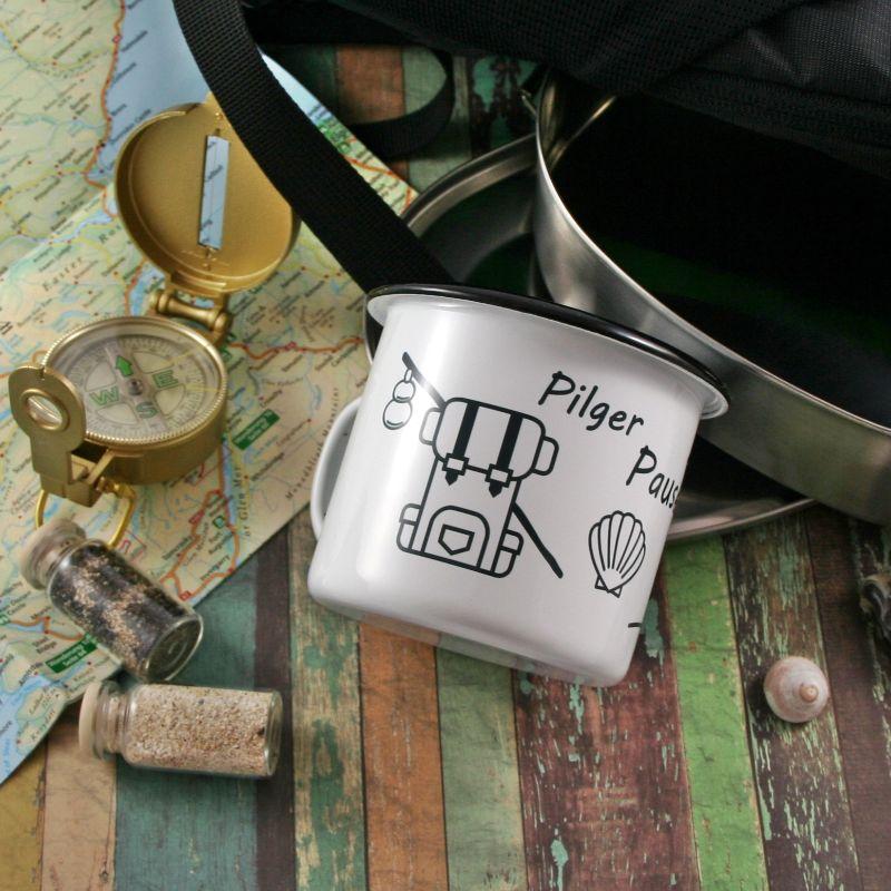 Kleinesbild - Tasse **PilgerPause** von ZWEIFARBIG aus Emaille Kaffeetasse Küche Geschenk Emaillebecher Geburtstag Dekoration Emailletasse Wandern Küchenbedarf Becher Tasse