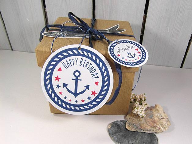 Kleinesbild - Geschenkanhänger Geburtstag · Deko für maritime Geschenke  mit Anker