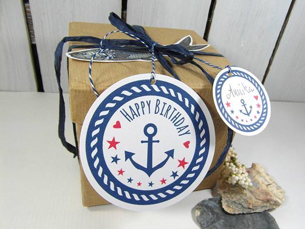 - Geschenkanhänger Geburtstag · Deko für maritime Geschenke  mit Anker - Geschenkanhänger Geburtstag · Deko für maritime Geschenke  mit Anker