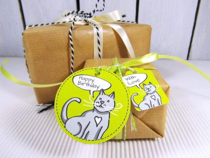 Material : Geschenkanhänger Katze Anhänger für Geschenk Geburtstag ...