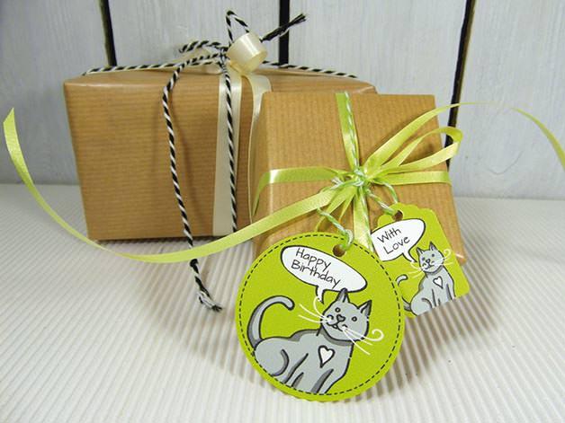 Kleinesbild -  Geschenkanhänger Kindergeburtstag Geburtstag Katze Katzenfans
