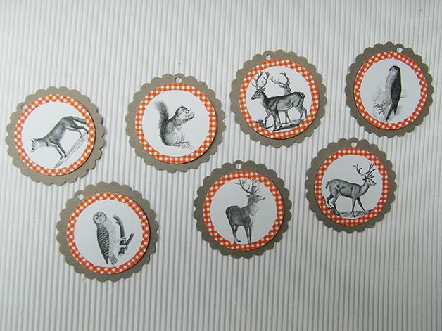 Kleinesbild - Geschenkanhänger vintage Waldtiere für Oktoberfestdeko