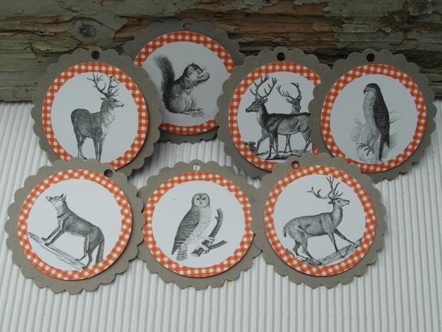 - Geschenkanhänger vintage Waldtiere für Oktoberfestdeko - Geschenkanhänger vintage Waldtiere für Oktoberfestdeko