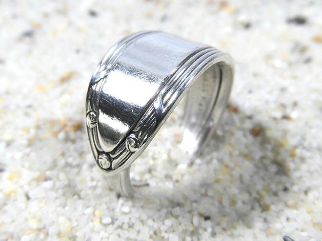 - Silberring Ring Besteckschmuck Jugendstil Linien Wickelring Tafelbesteck - Silberring Ring Besteckschmuck Jugendstil Linien Wickelring Tafelbesteck