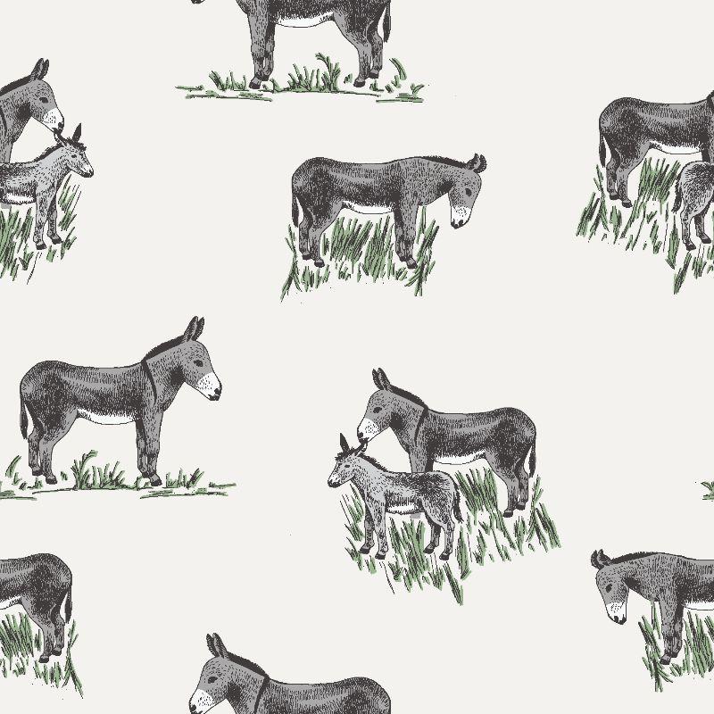- Musselin  / Double Gauze, weiß mit Esel und Gras - Musselin  / Double Gauze, weiß mit Esel und Gras