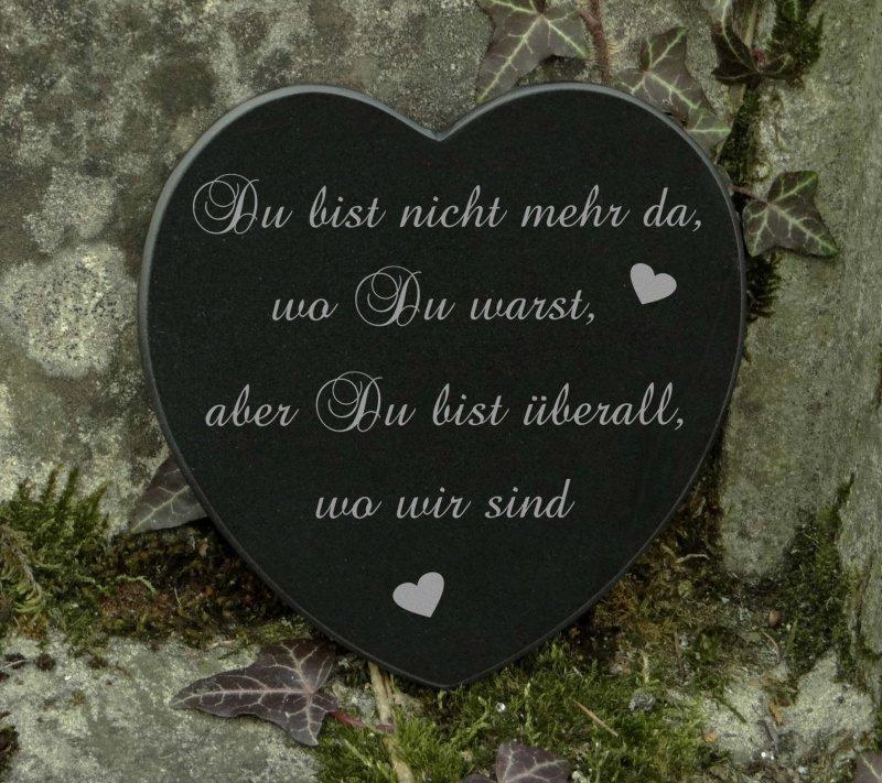 Prächtig Anlässe : Grabschmuck Herz Marmor Trauerspruch Gravur Du bist &GD_98
