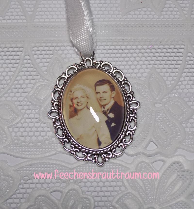 Kleinesbild - Memorial für den Brautstrauß oval silber - Amulett, Medaillon