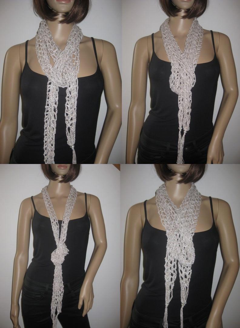 - Schmuckschal, Schal mit Leinen, auf viele Arten tragbar - Schmuckschal, Schal mit Leinen, auf viele Arten tragbar