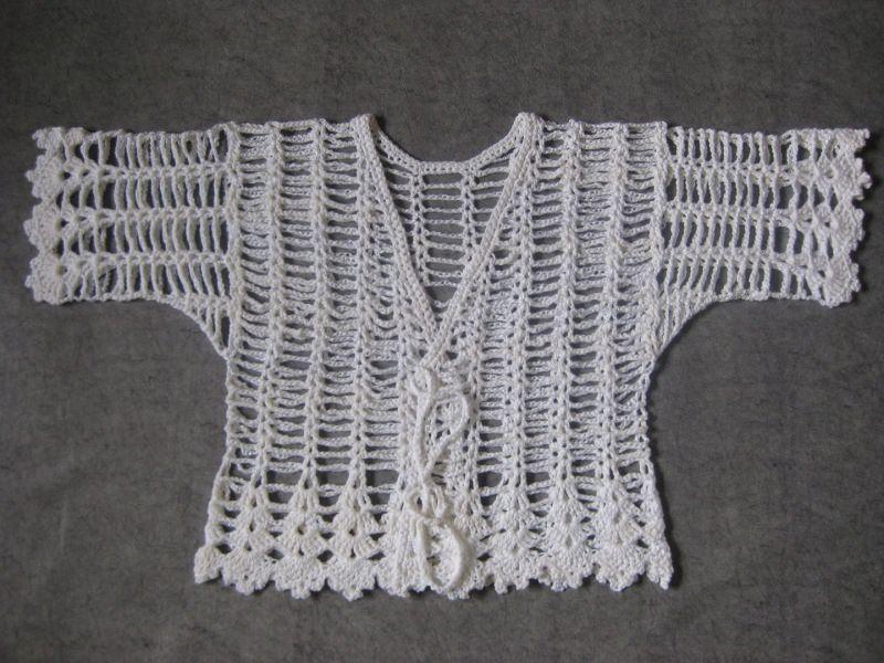 Kleinesbild - Häkeljacke, Sommerjacke, Bolero in weiß aus Viskose und Baumwolle