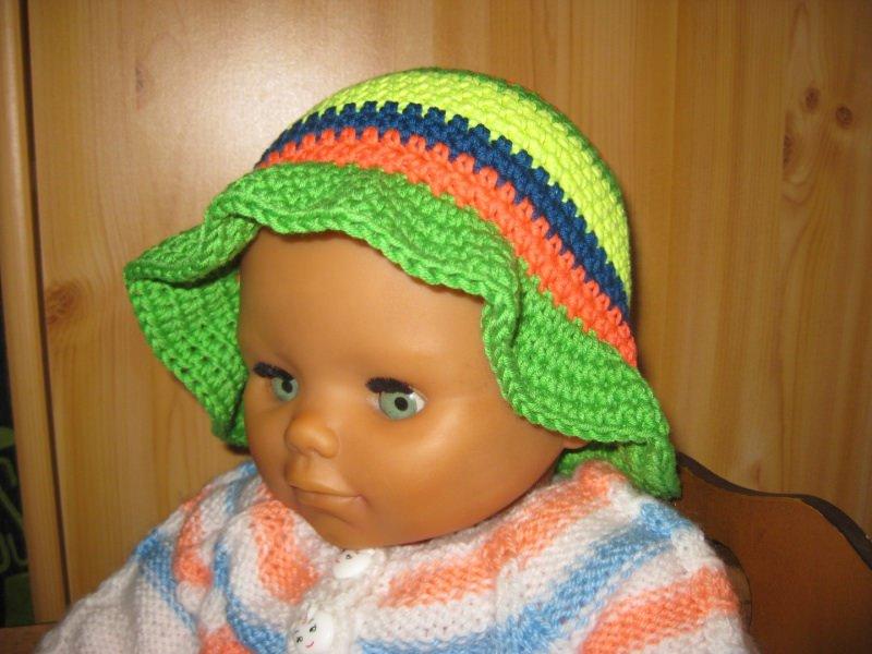 Kleinesbild - Babymütze mit Sonnenschutz, Sonnenhut, bunt