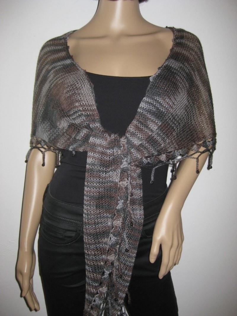 Kleinesbild - Schaltuch mit Mohair und Seide aus handgefärbter Wolle, gestrickt und gehäkelt, Dreieckstuch, Schal, Stola
