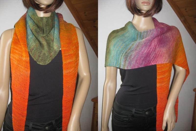 - Dreieckstuch, Schaltuch aus handgefärbter Wolle mit langem Farbverlauf, gestrickt, Schal, Stola - Dreieckstuch, Schaltuch aus handgefärbter Wolle mit langem Farbverlauf, gestrickt, Schal, Stola