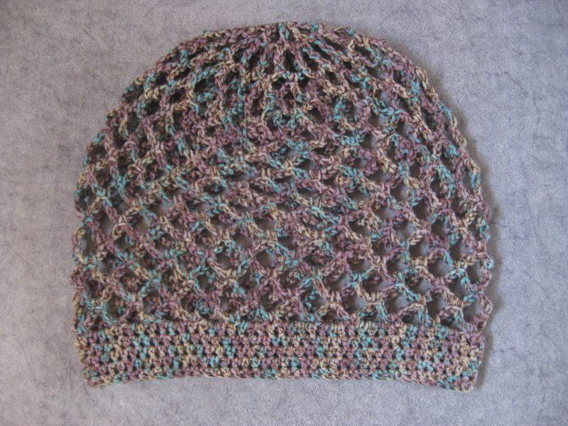 Kleinesbild - Mütze, lila-türkis-beige glänzend, Sommermütze, Beanie