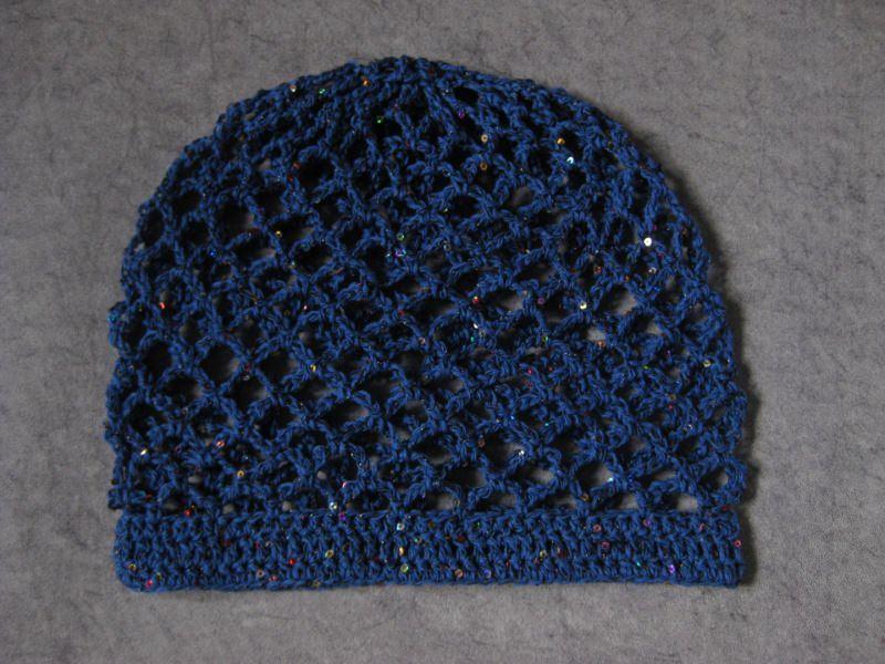 Kleinesbild - Mütze, Beanie, Sommer-Mütze mit Pailletten und Glanzfaden in blau