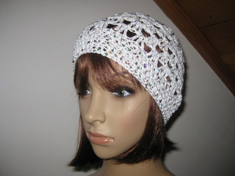 Kleinesbild - Mütze, Beanie, Sommer-Mütze mit Pailletten und Glanzfaden in weiß