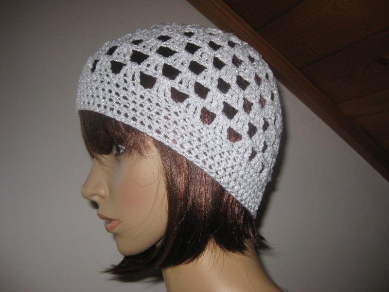 Kleinesbild - Mütze, Beanie, Sommer-Mütze in weiß mit Silberfaden