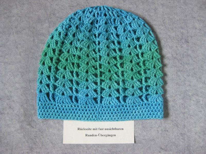 Kleinesbild - Mütze, Beanie, Sommer-Mütze mit Farbverlauf inTürkistönen