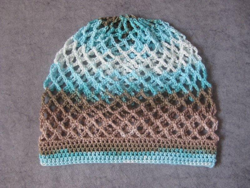 Kleinesbild - Mütze, Beanie, Sommer-Mütze mit Farbverlauf in Beige- und Türkistönen