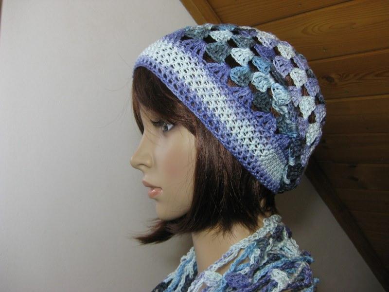 - Mütze, Beanie, Sommer-Mütze mit Farbverlauf inhellblau-flieder-dunkelgrau - Mütze, Beanie, Sommer-Mütze mit Farbverlauf inhellblau-flieder-dunkelgrau