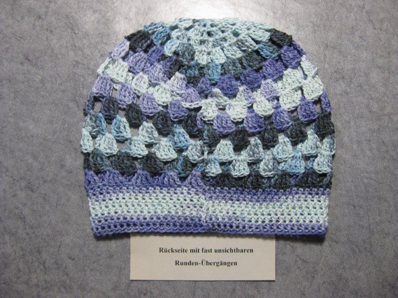 Kleinesbild - Mütze, Beanie, Sommer-Mütze mit Farbverlauf inhellblau-flieder-dunkelgrau