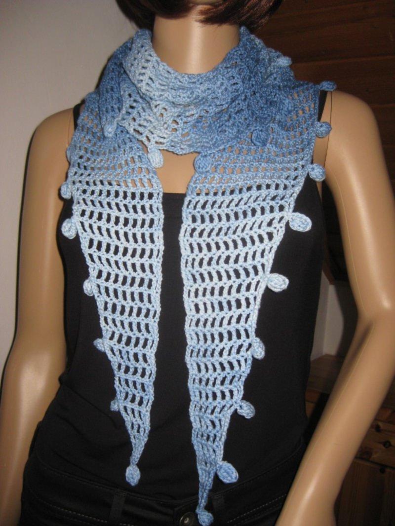 Kleinesbild - Schaltuch, Schal mit Seide, Dreieckstuch, Hellblau im Farbverlauf