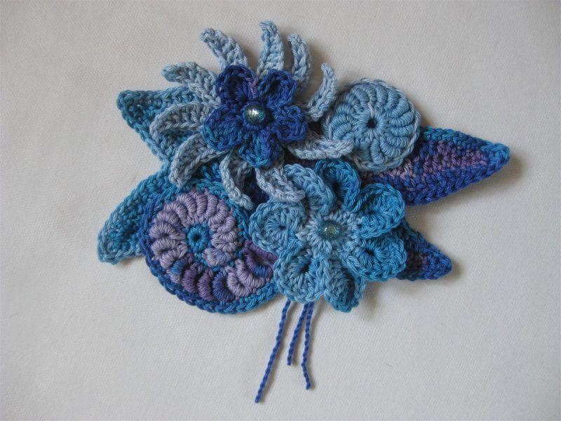 - Applikation, Freeform crochet mit Kunststoff-Perlen, aus Baumwolle - Applikation, Freeform crochet mit Kunststoff-Perlen, aus Baumwolle