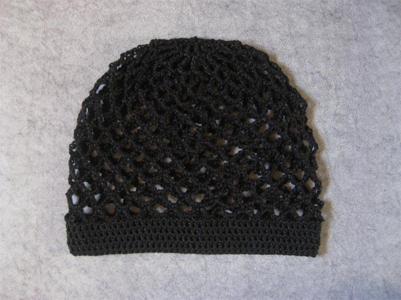 Kleinesbild - Mütze, schwarz glänzend, Sommermütze, Beanie