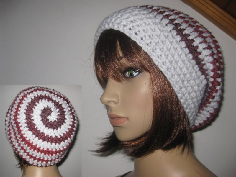- Mütze, Beanie im Spiral-Design, Häkelmütze - Mütze, Beanie im Spiral-Design, Häkelmütze