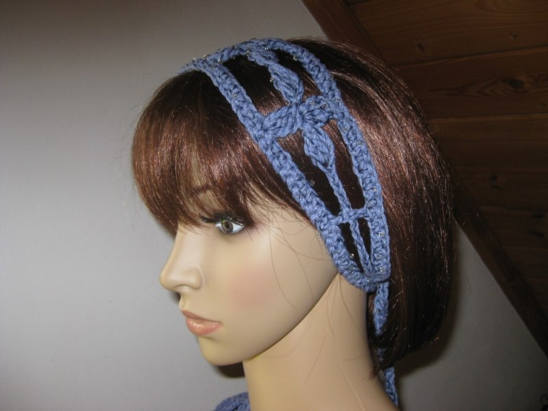 - Haarband mit kleinen Perlen, Stirnband, Haarschmuck, gehäkelt - Haarband mit kleinen Perlen, Stirnband, Haarschmuck, gehäkelt