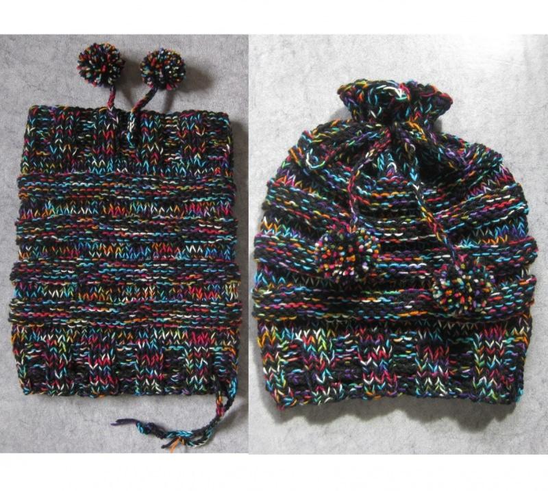 Kleinesbild - Mütze und/oder Loop-Schal, 2 in 1, verschiedene Tragemöglichkeiten, gestrickt