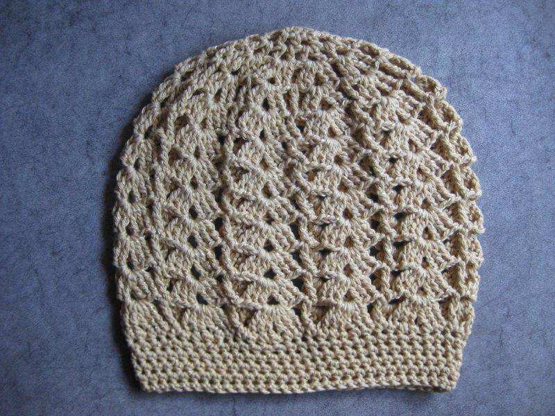 Kleinesbild - Mütze beige-goldfarben glänzend, Beanie, Häkelmütze, gehäkelt, mit Baumwolle
