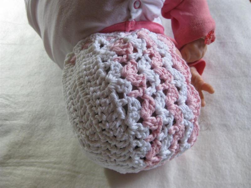 Kleinesbild - Babymütze, Neugeborenenmütze, Taufmütze, Sommermütze aus Baumwolle