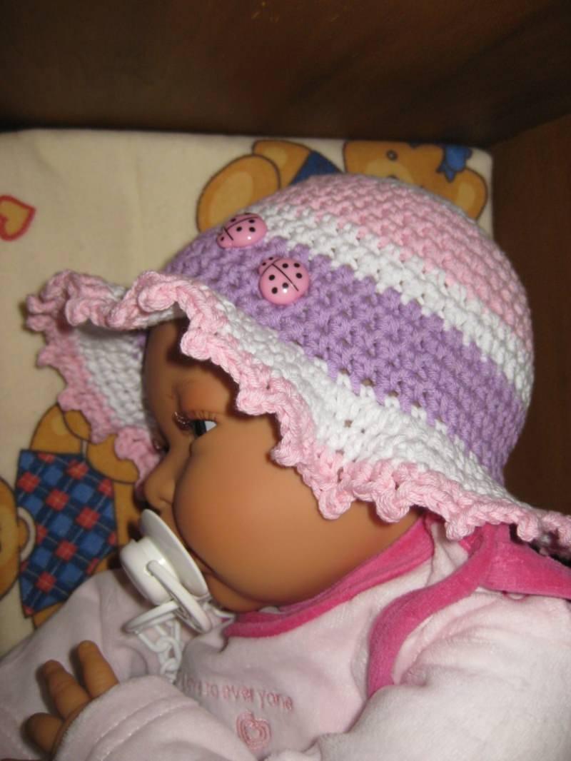 Kleinesbild - Babymütze, Sonnenhut, aus Baumwolle und Kapok