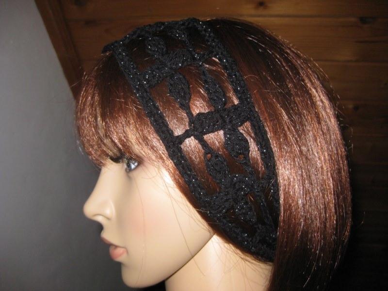 - Haarband mit etwas Glitzer, Stirnband, Haarschmuck, gehäkelt - Haarband mit etwas Glitzer, Stirnband, Haarschmuck, gehäkelt