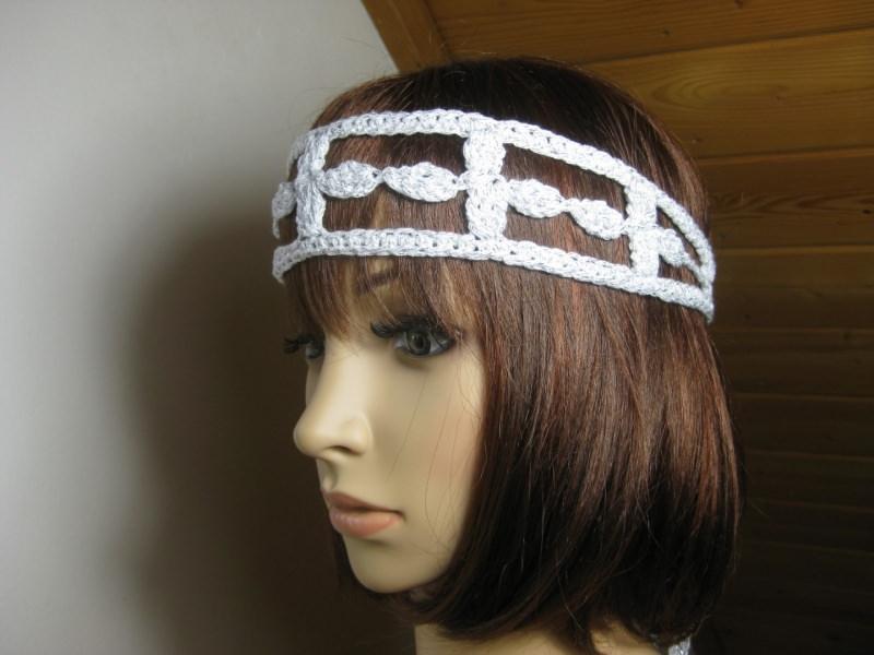 Kleinesbild - Haarband mit etwas Glitzer, Stirnband, Haarschmuck, gehäkelt