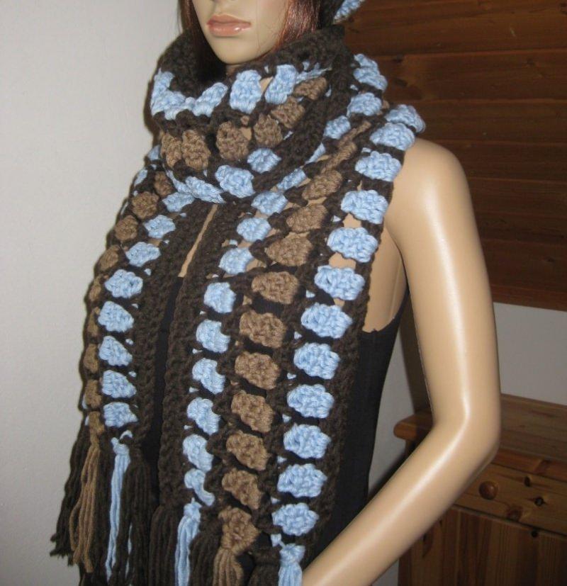 - Langer Schal, gehäkelt, mit auffälligem Muster, Stola  - Langer Schal, gehäkelt, mit auffälligem Muster, Stola