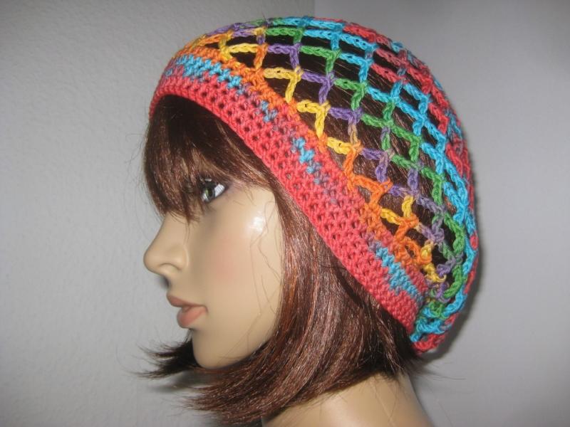 - Mütze, Beanie, Sommer-Mütze mit buntem Farbverlauf  - Mütze, Beanie, Sommer-Mütze mit buntem Farbverlauf