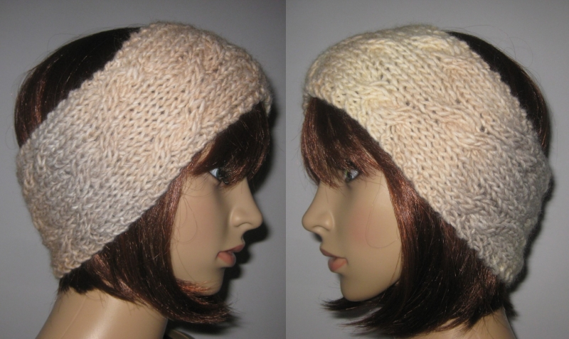 - Stirnband mit Zopfmuster, Ohrwärmer, Haarband - Stirnband mit Zopfmuster, Ohrwärmer, Haarband