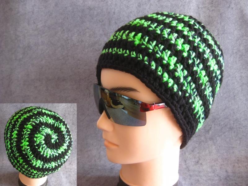 - Männer-Mütze im Spiral-Design, Mütze, Beanie, Häkelmütze - Männer-Mütze im Spiral-Design, Mütze, Beanie, Häkelmütze