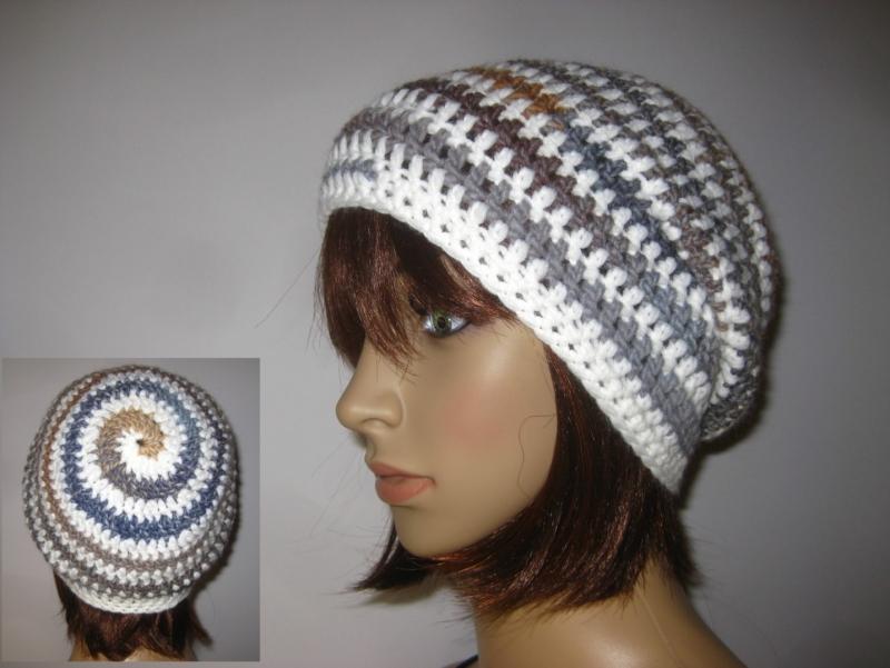- Mütze im Spiral-Design mit Farbverlauf, Beanie im Boshi Style, Häkelmütze - Mütze im Spiral-Design mit Farbverlauf, Beanie im Boshi Style, Häkelmütze