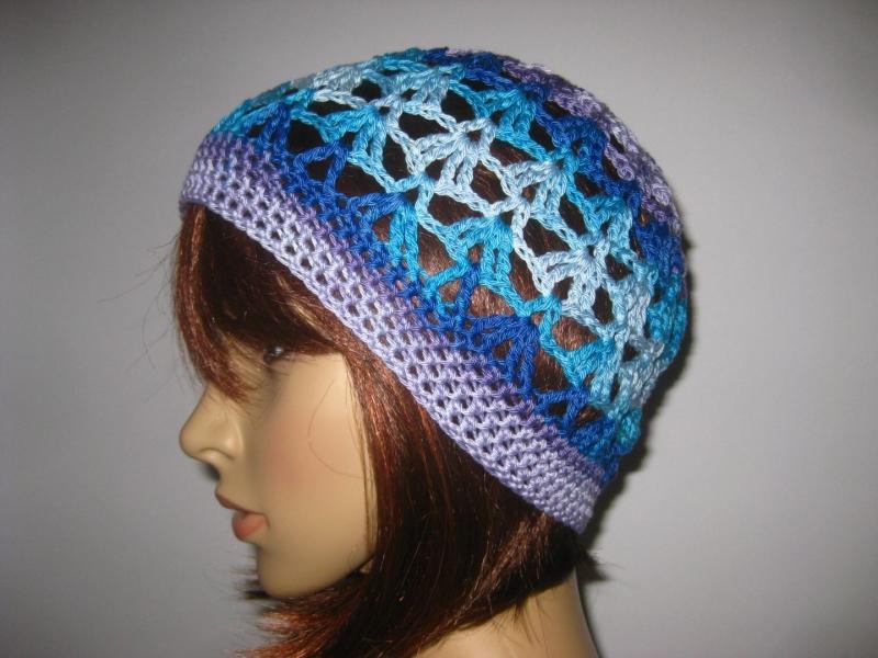 - Mütze, Beanie, Sommer-Mütze mit schönem Farbverlauf, aus Baumwolle - Mütze, Beanie, Sommer-Mütze mit schönem Farbverlauf, aus Baumwolle