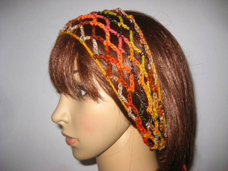 Kleinesbild - Haarband, Stirnband, Haarschmuck, aus Effektgarn gehäkelt