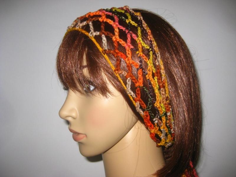 - Haarband, Stirnband, Haarschmuck, aus Effektgarn gehäkelt  - Haarband, Stirnband, Haarschmuck, aus Effektgarn gehäkelt