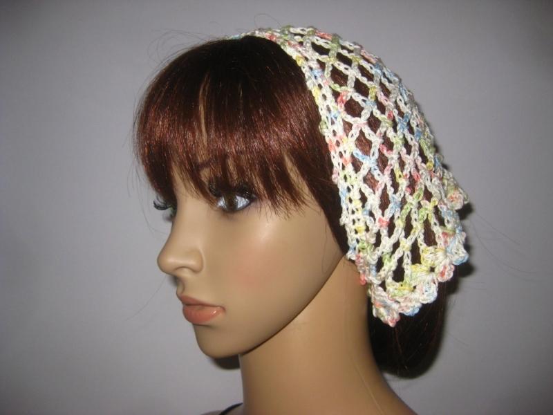 Kleinesbild - Kopftuch, Haarband, Haarschmuck, gehäkelt aus Baumwolle
